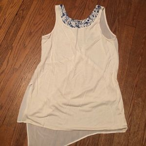 Cream see through back tank Armani exchange